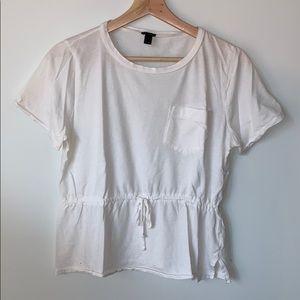 J CREW Cream Peplum Tie Pocket T-shirt